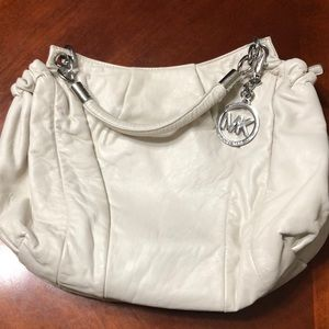 Michael Kors white soft leather bag